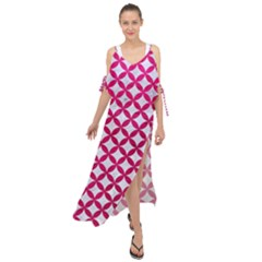 Circles3 White Marble & Pink Leather (r) Maxi Chiffon Cover Up Dress