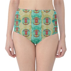 Peace Will Be In Fantasy Flowers With Love Classic High Waist Bikini Bottoms