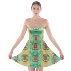 Peace Will Be In Fantasy Flowers With Love Strapless Bra Top Dress