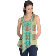 Peace Will Be In Fantasy Flowers With Love Sleeveless Tunic