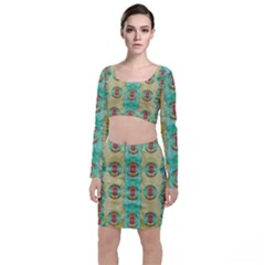 Peace Will Be In Fantasy Flowers With Love Long Sleeve Crop Top & Bodycon Skirt Set
