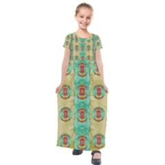 Peace Will Be In Fantasy Flowers With Love Kids  Short Sleeve Maxi Dress