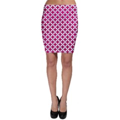 Circles3 White Marble & Pink Leather Bodycon Skirt
