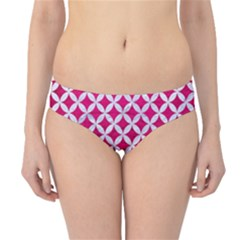 Circles3 White Marble & Pink Leather Hipster Bikini Bottoms