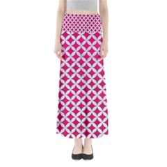 Circles3 White Marble & Pink Leather Full Length Maxi Skirt