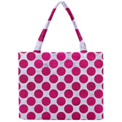 Circles2 White Marble & Pink Leather (r) Mini Tote Bag by trendistuff