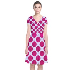 Circles2 White Marble & Pink Leather (r) Short Sleeve Front Wrap Dress