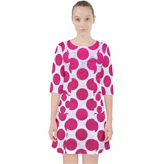 Circles2 White Marble & Pink Leather (r) Pocket Dress