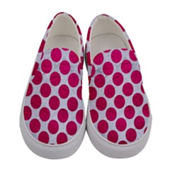 Circles2 White Marble & Pink Leather (r) Women s Canvas Slip Ons