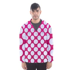 Circles2 White Marble & Pink Leather Hooded Windbreaker (men)