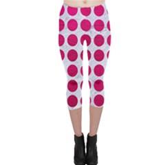 Circles1 White Marble & Pink Leather (r) Capri Leggings