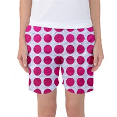 Circles1 White Marble & Pink Leather (r) Women s Basketball Shorts
