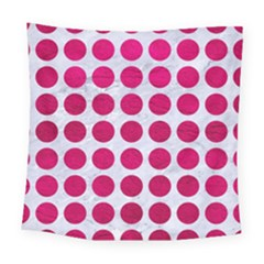 Circles1 White Marble & Pink Leather (r) Square Tapestry (large)
