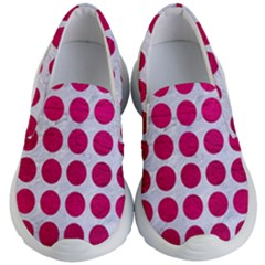 Circles1 White Marble & Pink Leather (r) Kid s Lightweight Slip Ons