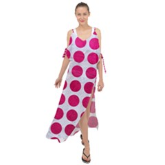 Circles1 White Marble & Pink Leather (r) Maxi Chiffon Cover Up Dress