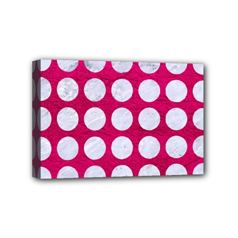 Circles1 White Marble & Pink Leather Mini Canvas 6  X 4