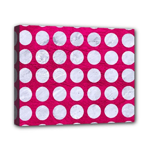 Circles1 White Marble & Pink Leather Canvas 10  X 8
