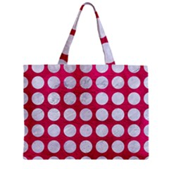 Circles1 White Marble & Pink Leather Zipper Mini Tote Bag by trendistuff