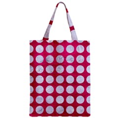 Circles1 White Marble & Pink Leather Zipper Classic Tote Bag