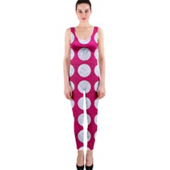 Circles1 White Marble & Pink Leather One Piece Catsuit