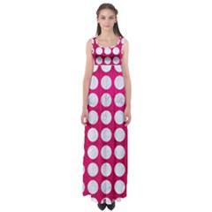 Circles1 White Marble & Pink Leather Empire Waist Maxi Dress