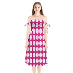 Circles1 White Marble & Pink Leather Shoulder Tie Bardot Midi Dress