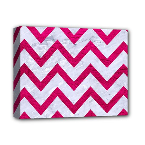 Chevron9 White Marble & Pink Leather (r) Deluxe Canvas 14  X 11