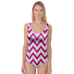 Chevron9 White Marble & Pink Leather (r) Princess Tank Leotard