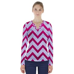 Chevron9 White Marble & Pink Leather (r) V Neck Long Sleeve Top