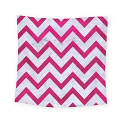 Chevron9 White Marble & Pink Leather (r) Square Tapestry (small)