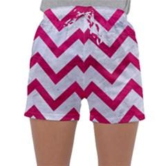 Chevron9 White Marble & Pink Leather (r) Sleepwear Shorts