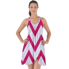 Chevron9 White Marble & Pink Leather (r) Show Some Back Chiffon Dress