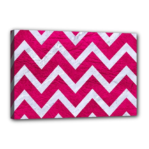 Chevron9 White Marble & Pink Leather Canvas 18  X 12