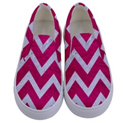 Chevron9 White Marble & Pink Leather Kids  Canvas Slip Ons