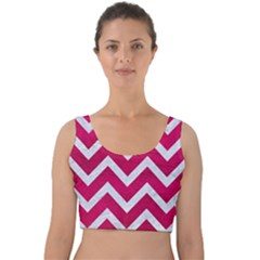 Chevron9 White Marble & Pink Leather Velvet Crop Top