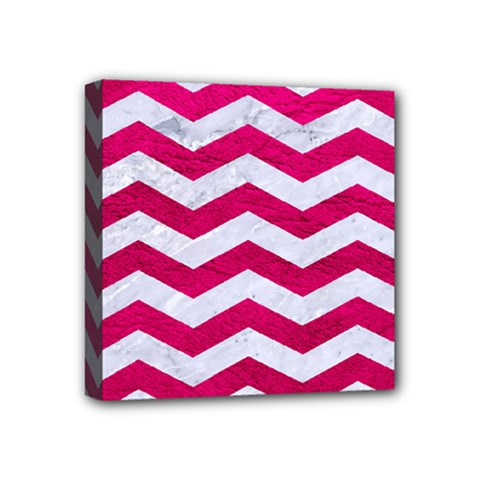 Chevron3 White Marble & Pink Leather Mini Canvas 4  X 4