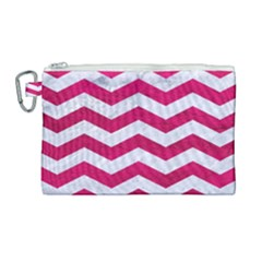 Chevron3 White Marble & Pink Leather Canvas Cosmetic Bag (large)