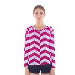 Chevron2 White Marble & Pink Leather Women s Long Sleeve Tee