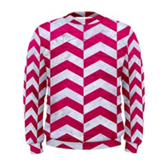 Chevron2 White Marble & Pink Leather Men s Sweatshirt
