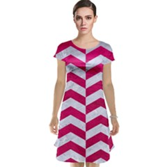 Chevron2 White Marble & Pink Leather Cap Sleeve Nightdress