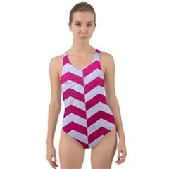Chevron2 White Marble & Pink Leather Cut Out Back One Piece Swimsuit