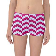 Chevron2 White Marble & Pink Leather Reversible Boyleg Bikini Bottoms