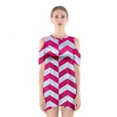 Chevron2 White Marble & Pink Leather Shoulder Cutout One Piece