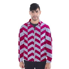 Chevron2 White Marble & Pink Leather Windbreaker (men)