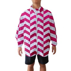 Chevron2 White Marble & Pink Leather Windbreaker (kids)