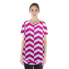 Chevron2 White Marble & Pink Leather Skirt Hem Sports Top