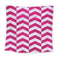 Chevron2 White Marble & Pink Leather Square Tapestry (large) by trendistuff