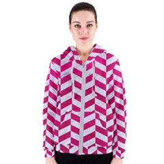 Chevron1 White Marble & Pink Leather Women s Zipper Hoodie