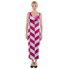 Chevron1 White Marble & Pink Leather Fitted Maxi Dress