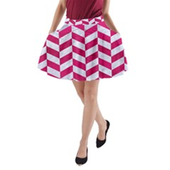 Chevron1 White Marble & Pink Leather A Line Pocket Skirt